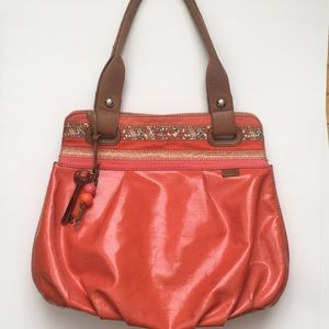 FOSSIL Keyper Orange Coated Canvas Tote Bag